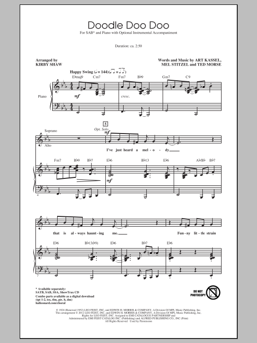 Partition chorale Doodle Doo Doo de Kirby Shaw - SAB