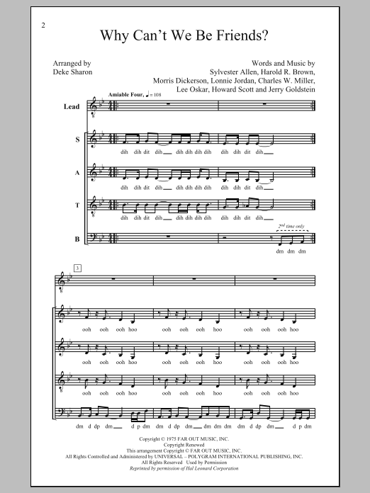 Partition chorale Why Can't We Be Friends de Deke Sharon - SATB