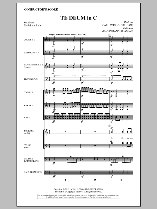 Te Deum In C (complete set of parts) sheet music for orchestra/band (Orchestra) by Carl Czerny