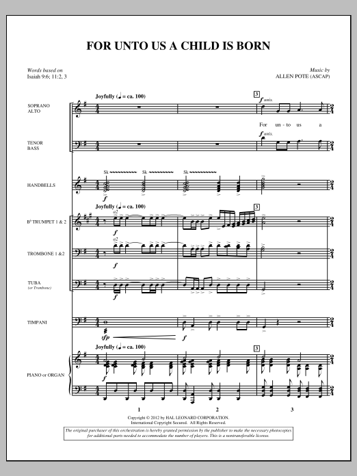 For Unto Us A Child Is Born (COMPLETE) sheet music for orchestra/band (Brass) by Allen Pote
