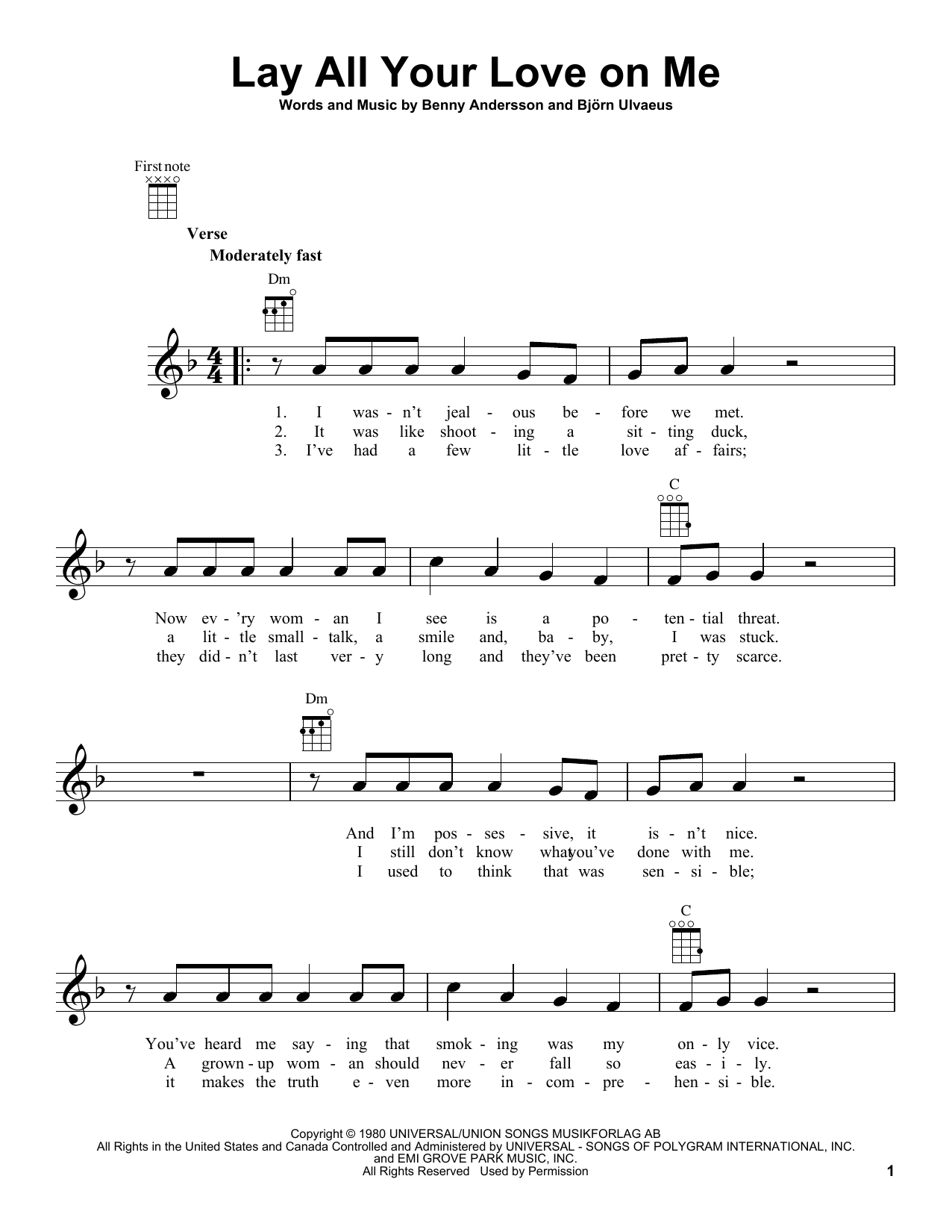 Tablature guitare Lay All Your Love On Me de ABBA - Ukulele