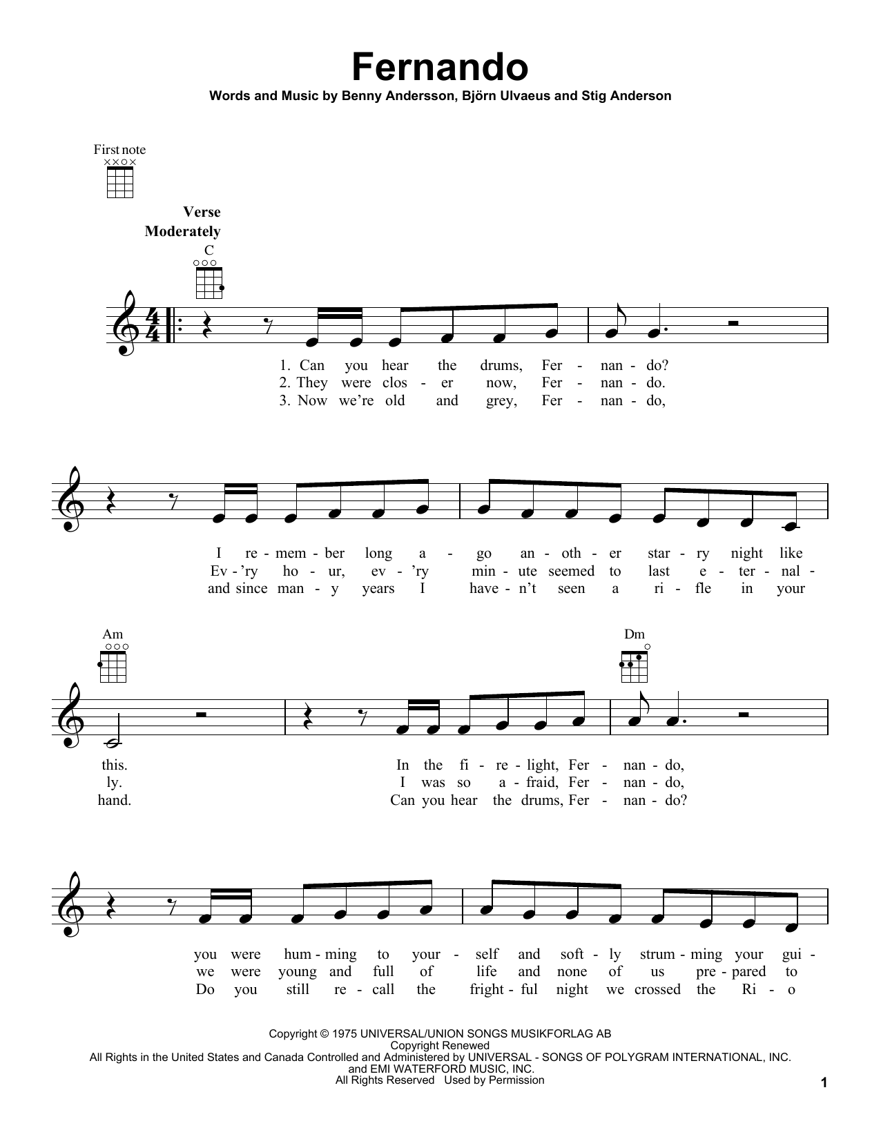 Tablature guitare Fernando de ABBA - Ukulele