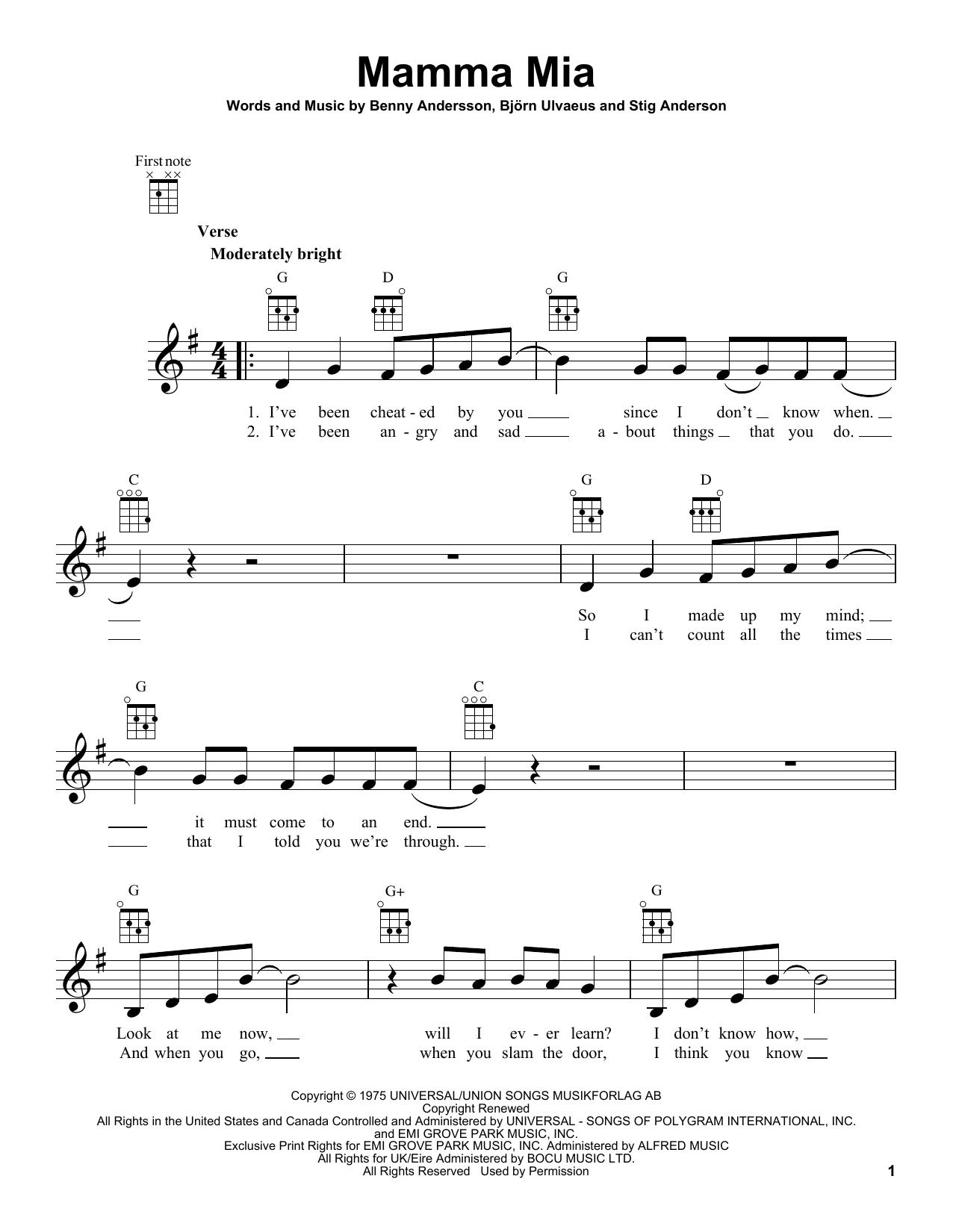 Tablature guitare Mamma Mia de ABBA - Ukulele