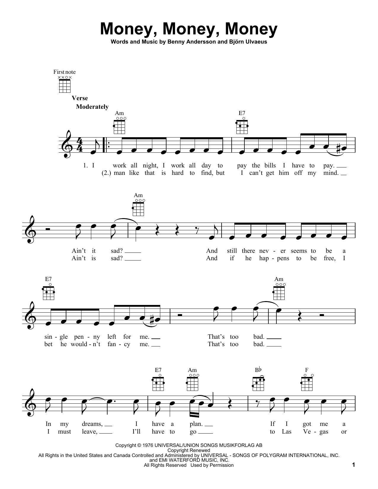 Tablature guitare Money, Money, Money de ABBA - Ukulele