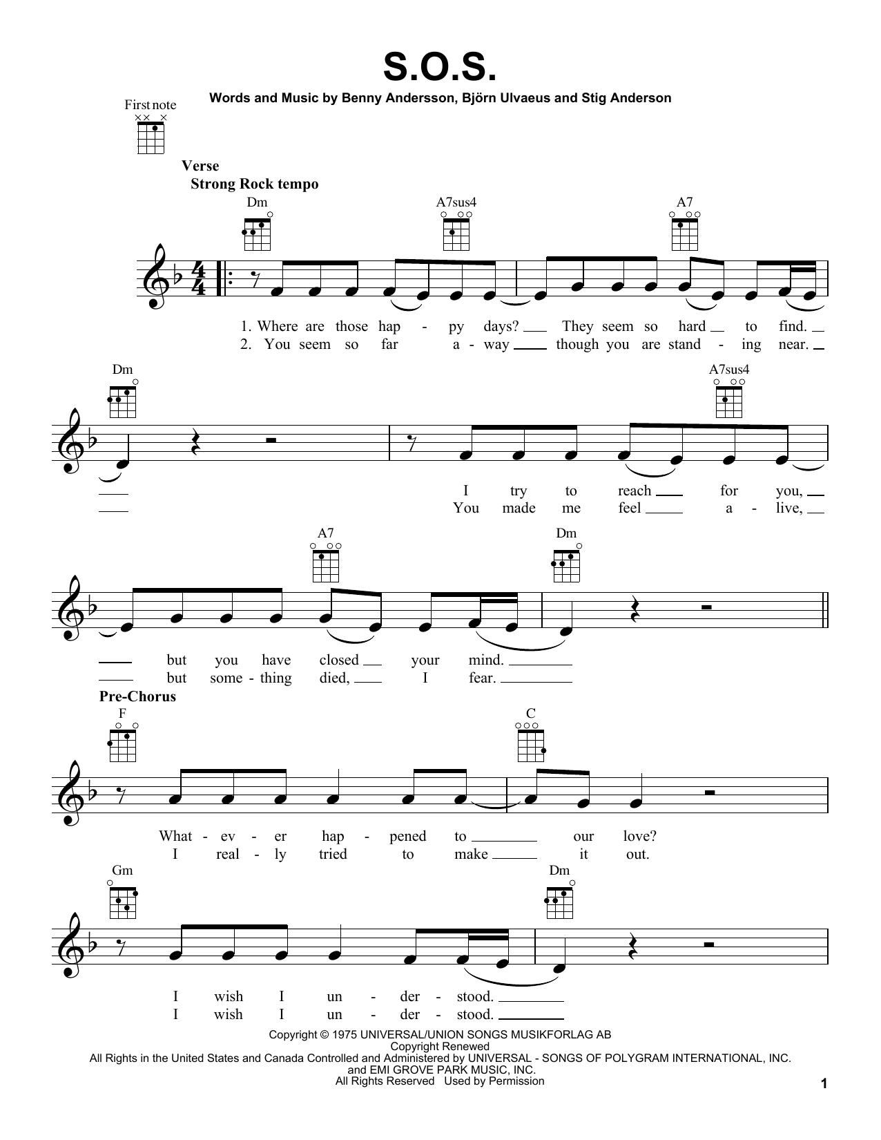 Tablature guitare S.O.S. de ABBA - Ukulele