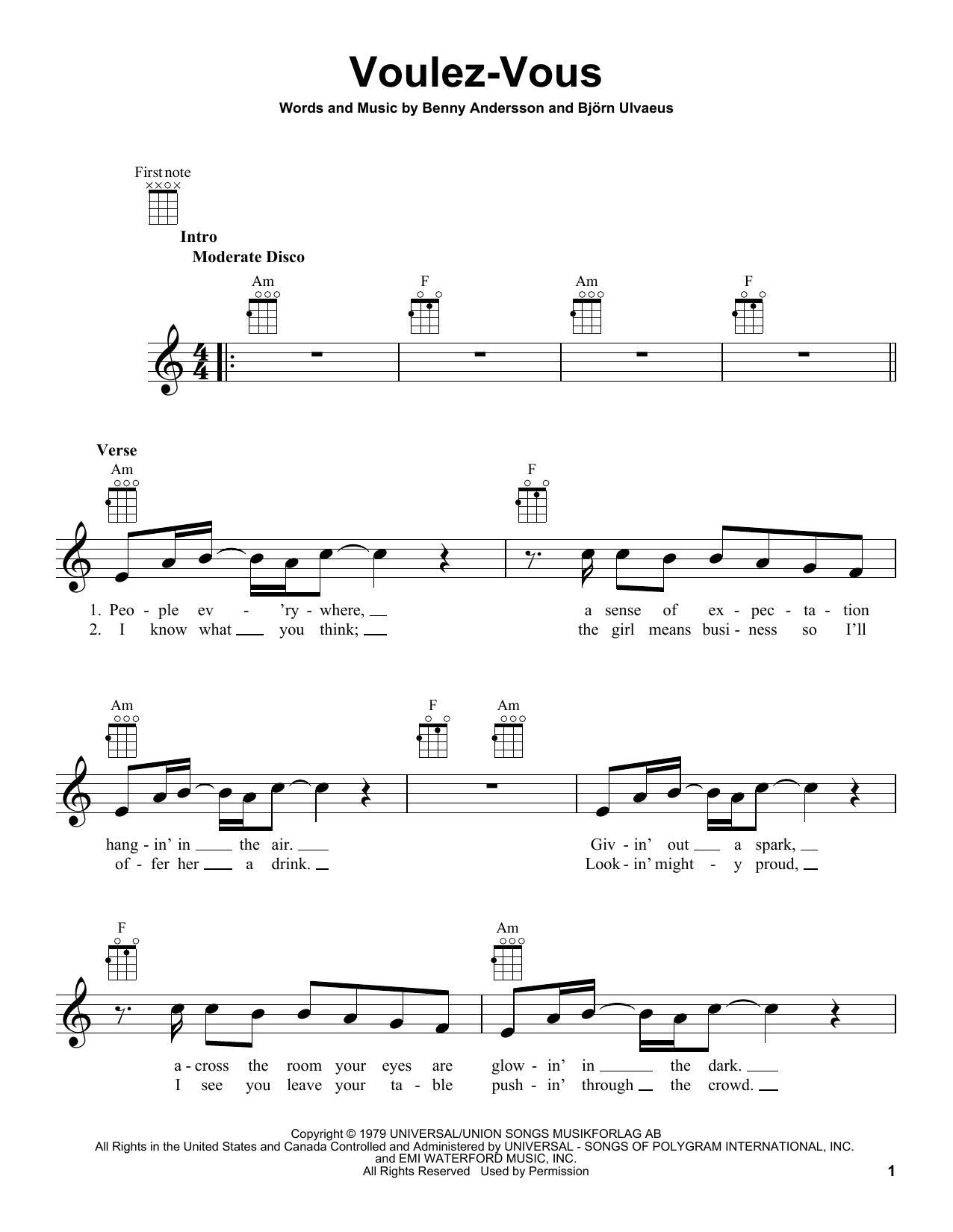 Tablature guitare Voulez-Vous de ABBA - Ukulele