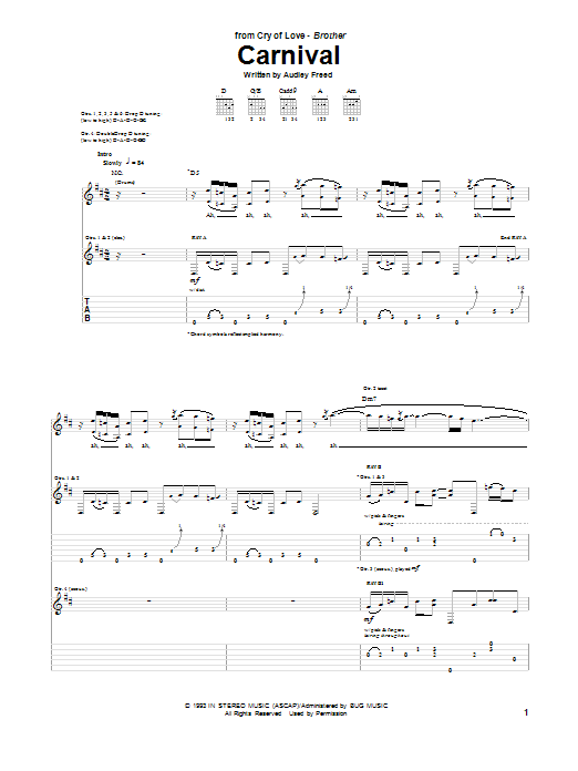Tablature guitare Carnival de Cry Of Love - Tablature Guitare