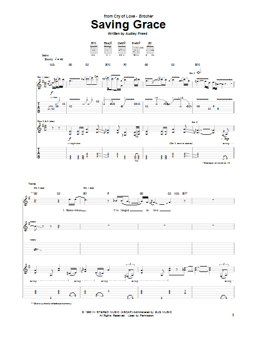 Tablature guitare Saving Grace de Cry Of Love - Tablature Guitare