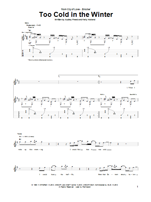 Tablature guitare Too Cold In The Winter de Cry Of Love - Tablature Guitare