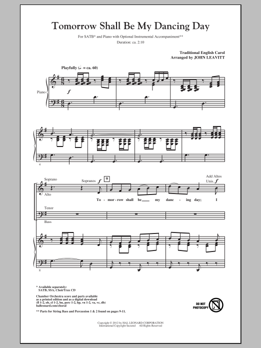 Partition chorale Tomorrow Shall Be My Dancing Day de John Leavitt - SATB