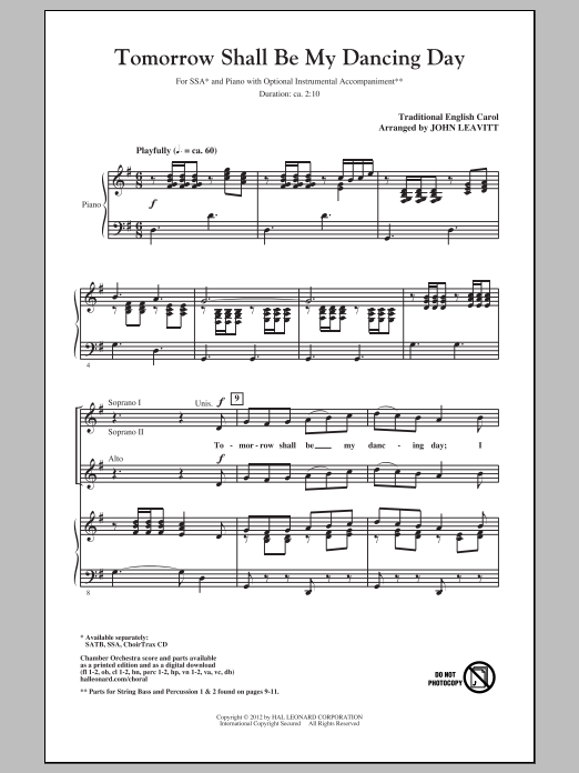Partition chorale Tomorrow Shall Be My Dancing Day de John Leavitt - SSA
