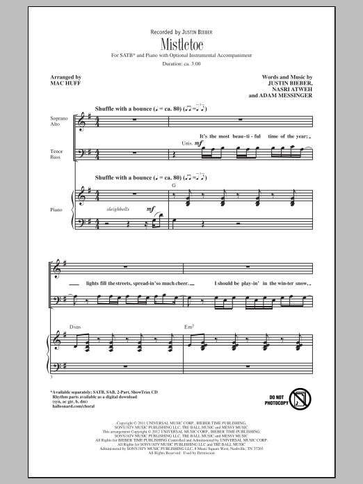 Mistletoe sheet music for choir and piano (SATB) by Adam Messinger