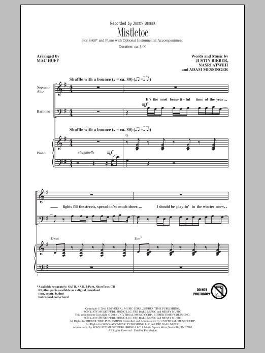 Partition chorale Mistletoe de Justin Bieber - SAB