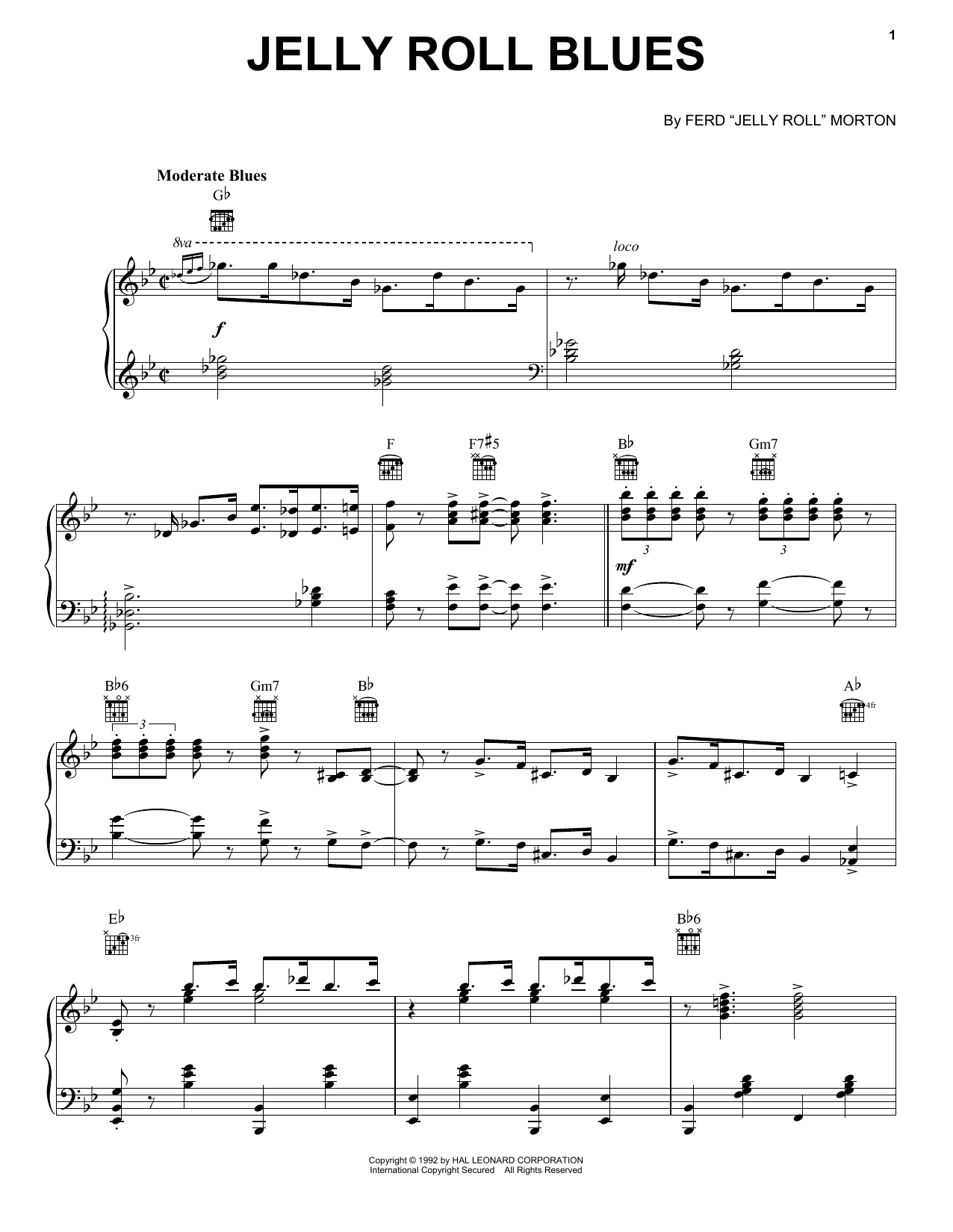 Jelly Roll Blues sheet music for voice, piano or guitar by Jelly Roll Morton