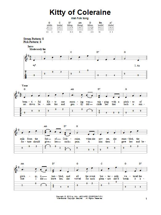 Tablature guitare Kitty Of Coleraine de Irish Folksong - Tablature guitare facile