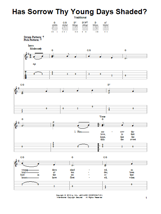 Tablature guitare Has Sorrow Thy Young Days Shaded? de Traditional - Tablature guitare facile