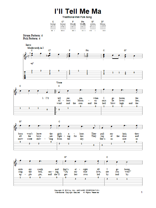 Tablature guitare I'll Tell Me Ma de Traditional Irish Folk Song - Tablature guitare facile