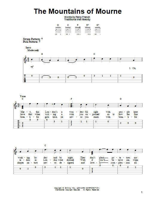 Tablature guitare The Mountains Of Mourne de Percy French - Tablature guitare facile