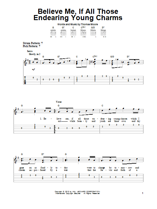 Tablature guitare Believe Me, If All Those Endearing Young Charms de Thomas Moore - Tablature guitare facile