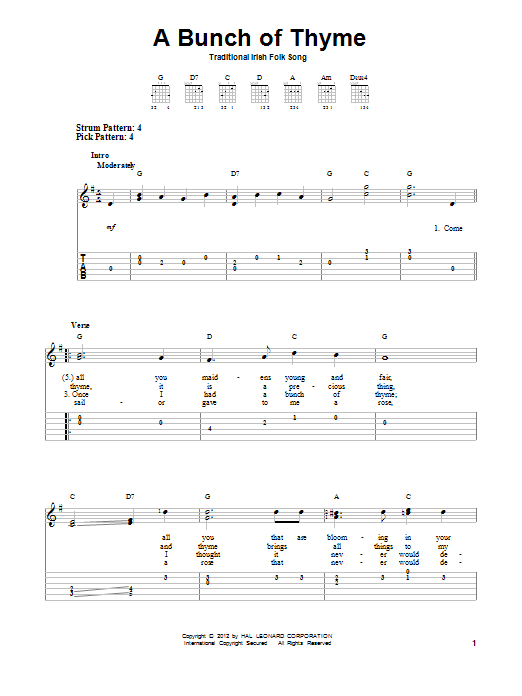 Tablature guitare A Bunch Of Thyme de Traditional Irish Folksong - Tablature guitare facile