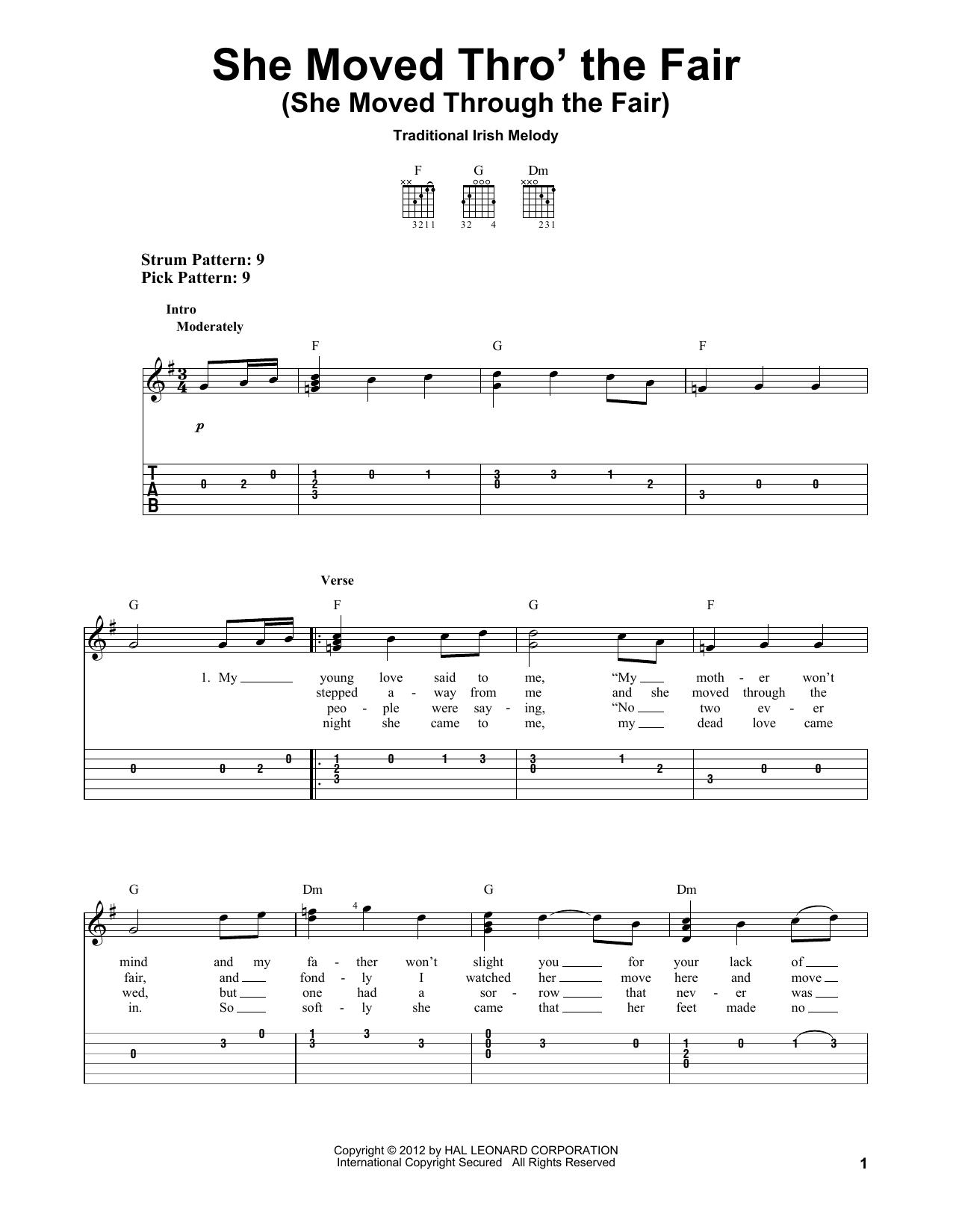 Tablature guitare She Moved Thro' The Fair (She Moved Through The Fair) de Traditional Irish - Tablature guitare facile