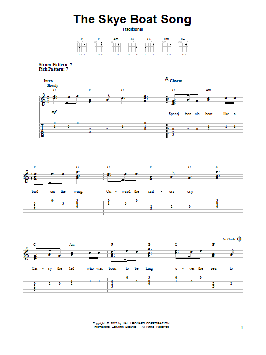 Tablature guitare The Skye Boat Song de Traditional - Tablature guitare facile