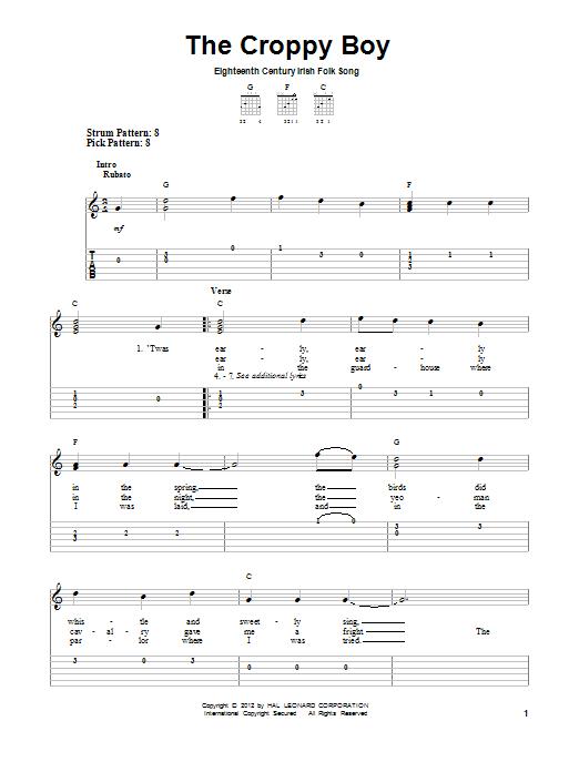 Tablature guitare The Croppy Boy de Irish Folksong - Tablature guitare facile