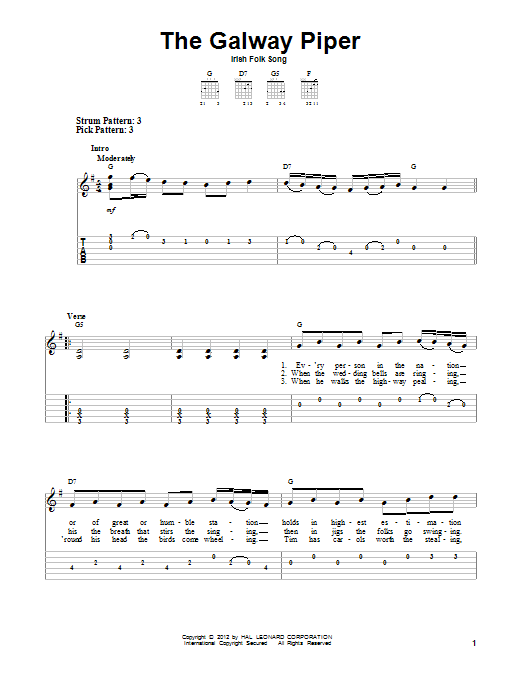 Tablature guitare The Galway Piper de Irish Folksong - Tablature guitare facile
