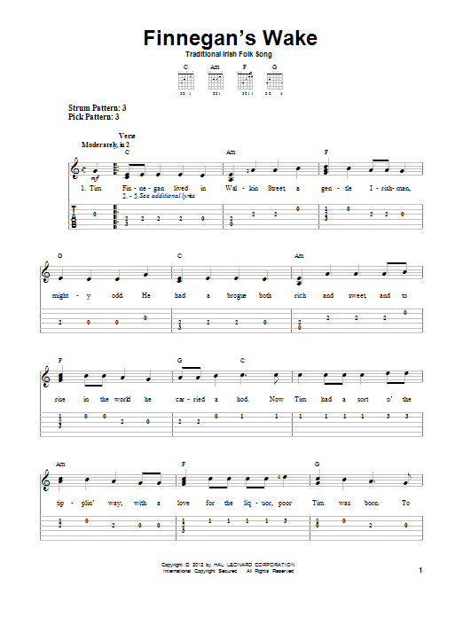 Tablature guitare Finnegan's Wake de Traditional Irish Folk Song - Tablature guitare facile
