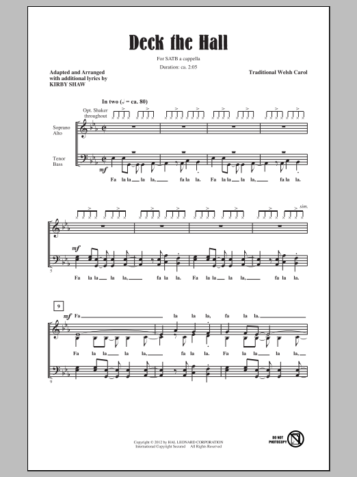 Partition chorale Deck The Hall de Kirby Shaw - SATB