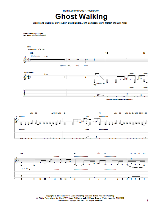 Tablature guitare Ghost Walking de Lamb Of God - Tablature Guitare