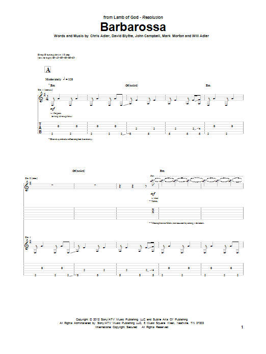 Barbarossa sheet music for guitar solo (tablature) by Will Adler