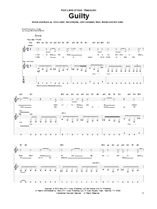 Guilty sheet music for guitar solo (tablature) by Will Adler