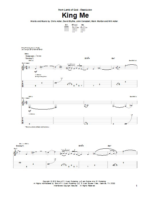 King Me sheet music for guitar solo (tablature) by Will Adler