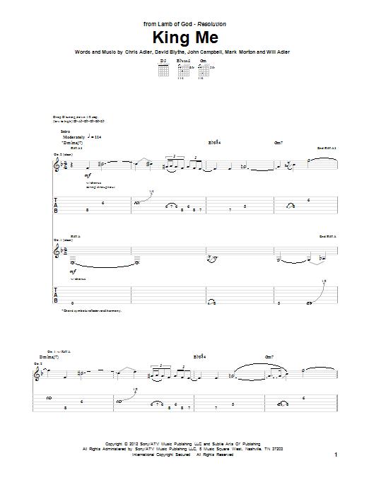 Tablature guitare King Me de Lamb Of God - Tablature Guitare