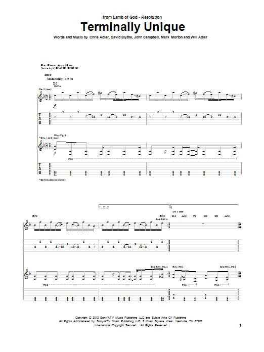 Tablature guitare Terminally Unique de Lamb Of God - Tablature Guitare