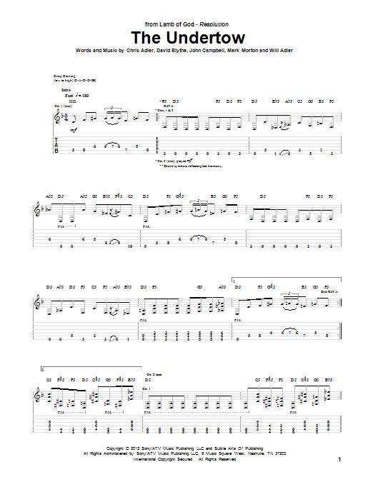 Tablature guitare The Undertow de Lamb Of God - Tablature Guitare