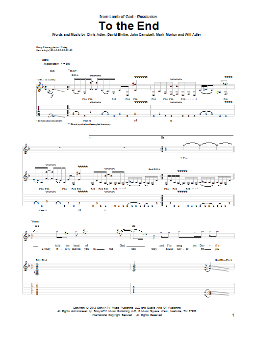 Tablature guitare To The End de Lamb Of God - Tablature Guitare