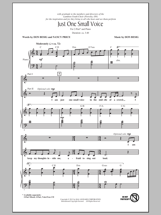 Just One Small Voice sheet music for choir and piano (duets) by Nancy Price
