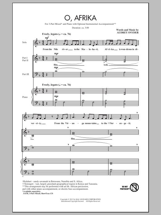 Partition chorale O, Afrika de Audrey Snyder - 3 voix mixtes