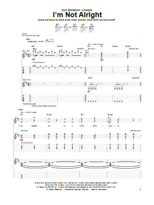 Tablature guitare I'm Not Alright de Shinedown - Tablature Guitare
