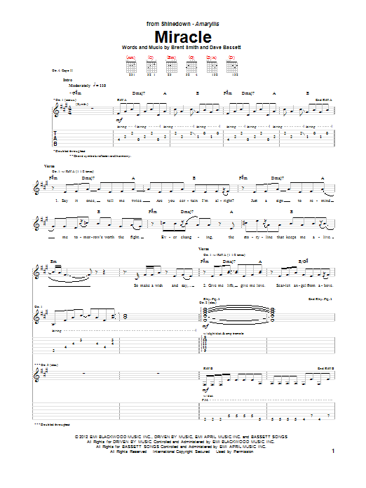 Tablature guitare Miracle de Shinedown - Tablature Guitare