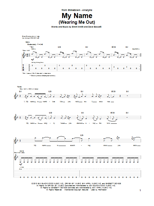 Tablature guitare My Name (Wearing Me Out) de Shinedown - Tablature Guitare