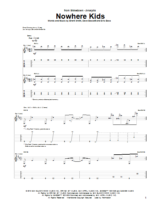 Nowhere Kids sheet music for guitar solo (tablature) by Eric Bass