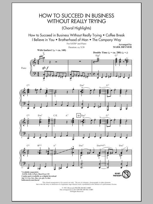 Partition chorale How To Succeed In Business Without Really Trying (Choral Highlights) de Mark Brymer - SATB