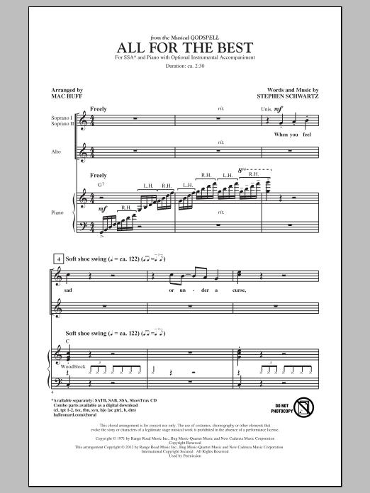 Partition chorale All For The Best de Stephen Schwartz - SSA