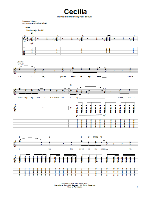 Tablature guitare Cecilia de Simon & Garfunkel - Tablature Guitare