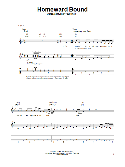 Tablature guitare Homeward Bound de Simon & Garfunkel - Tablature Guitare