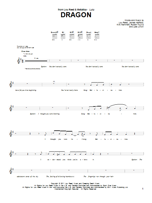 Dragon sheet music for guitar solo (tablature) by Robert Trujillo