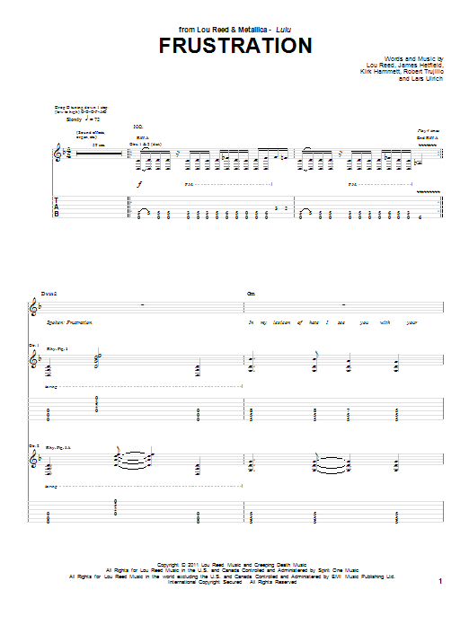 Tablature guitare Frustration de Lou Reed & Metallica - Tablature Guitare